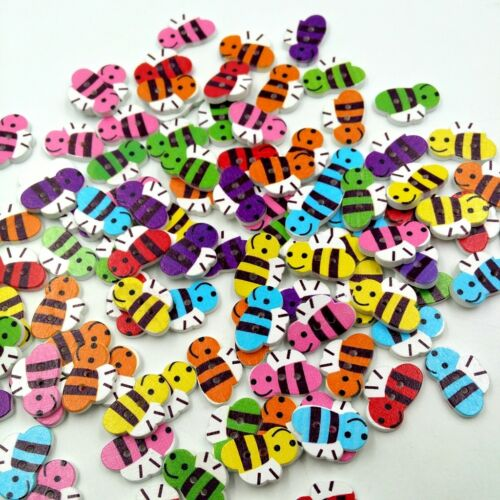 50pcs Bee Shapes Wood Buttons Sewing Scrapbooking Card Decoration DIY Crafts