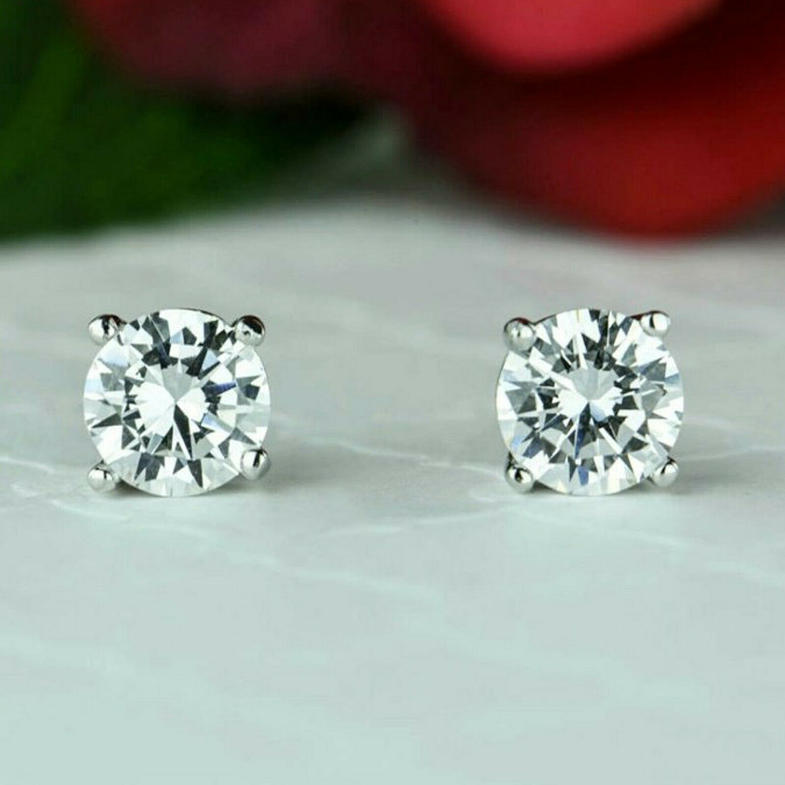807a4c3e03ba4 gold White 14K Diamond Round 2.00 Over CT Earrings Stud Solitaire ...
