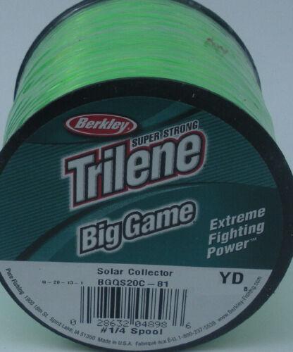 Berkley BGQS30-81 30Lb Trilene Big Game Mono Line 1//4 Lb Spool Solar Green 10506