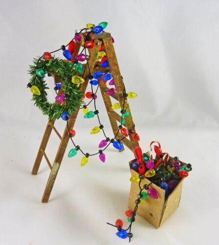 Dollhouse Miniature Artisan Holiday Christmas Lights Ladder /& Box