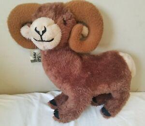 Vintage Dakin Pillow Pets Bighorn Sheep Brown Plush 18 X 20