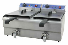 291095 Elektro Doppel Friteuse für Gastronomie Imbiss mit ablaßhahn Fritteuse