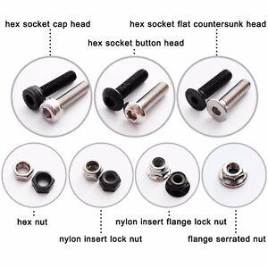 50X-M2-M3-M4-M5-Hex-Socket-Allen-Head-Screw-Bolt-Self-locking-Nylock-Nut-Locknut