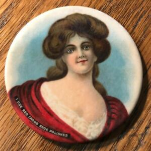 CELLULOID ADVERTISING POCKET MIRROR I USE RED CROSS SHOE POLISHES VICTORIAN LADY
