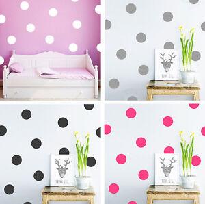 DIY-Wandtattoo-Punkte-Aufkleber-5-7-10cm-Gold-Pink-Schwarz-Weiss-Grau-Sticker