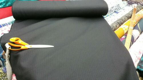 NEW**premium quality black wool blend self lines heavy man suiting fabric 58/'/'w