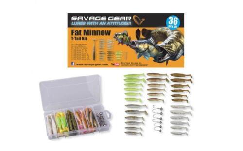 SAVAGE GEAR 36 FAT MINNOW T TAIL SOFT LURE KIT 30 BODYS 6 JIGHEADS