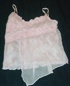XS-Pastel-Baby-Pink-Sequin-Lace-Sheer-Gauz-Layer-Spaghetti-Strap-Cami-Blouse-Top