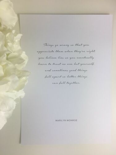 Marilyn Monroe Print Quote Home Decor Designer A4 Mrs Hinch Inspiration 220gsm
