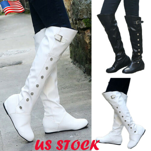 Womens Over The Knee Leather Boots Ladies Casual Flats Buckle Slouch Boots Shoes