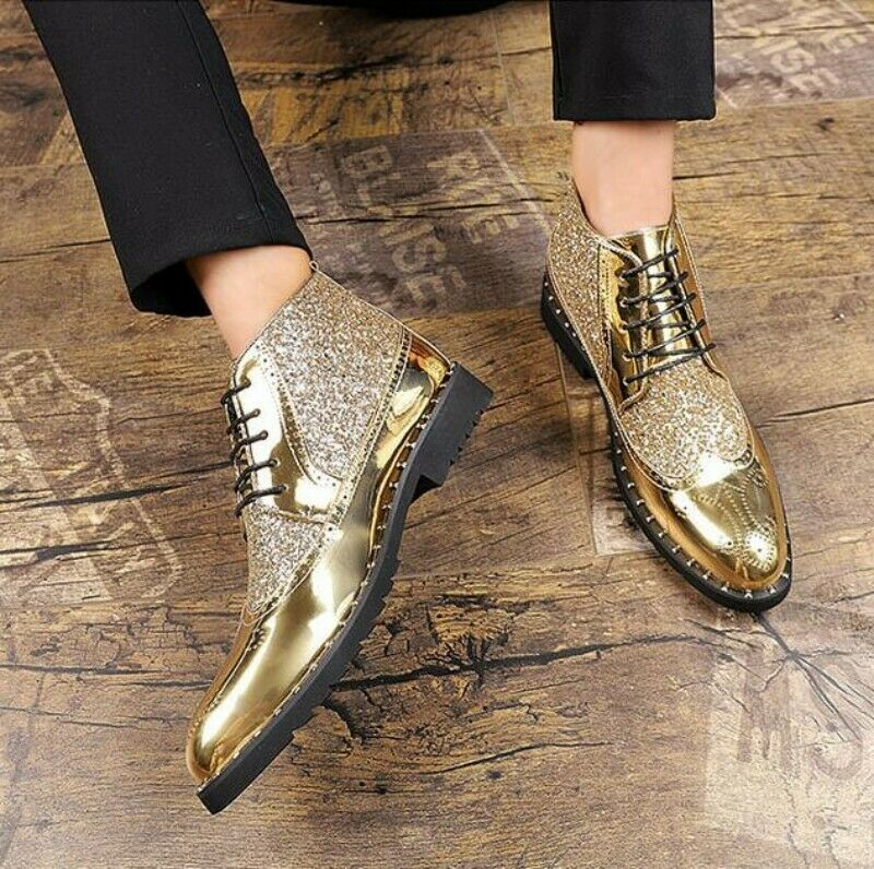 Men Pointed Toe Brogue Rhinestone Hollow Out Sequin Wedge High Top Ankle Boots