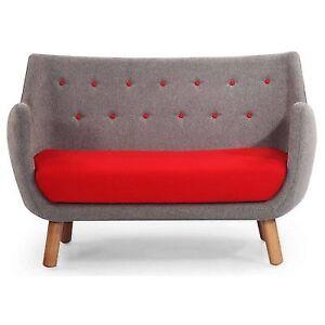 Kardiel 1946 Parlor Mid Century Modern Sofa Earl Grey Red Cashmere