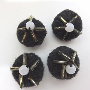 4-Vintage-Crocheted-Buttons-11-16-Inches-Diameter-Black-w-Beads