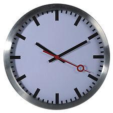 Wanduhr Uhr Bahnhofsuhr Classic Büro zeitlos Modern 35 cm Metall Alu Silber NEU