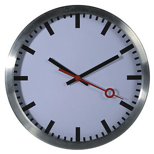 Wanduhr Uhr Bahnhofsuhr Classic Buro Zeitlos Modern 35 Cm Metall Alu