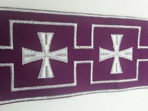 Vestment-Borde-Banda-Alba-Blanco-Cruz-en-Purpura-10-8cm-Ancho-Vendido-por-Patio