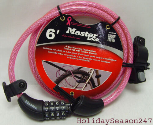Master Cable Lock Pink Set-Your-Own Combination Bicycle Bike W Carrier Bracket