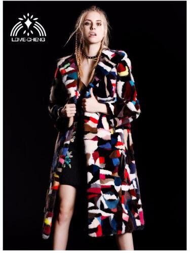 genuine mink fur coat with hood women fashion colorful long multi-color jacket