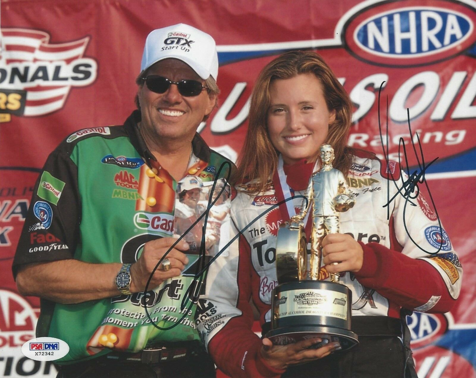 John Force & Ashley Force signed 8x10 PSA/DNA # X72342