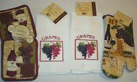 Wine And Grapes Kitchen Home Decor 5 Piece Set - Oven Mitt,towels,pot Holders