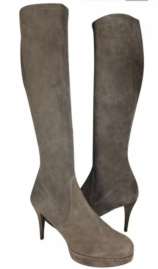 Stuart Weitzman 'Give-it-Up' Platform Suede Knee High Boot~SZ 10M~Taupe/Brown