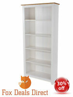 Bookcase Artic White & Pine Large Tall Wide 4 Shelves 3 Adjustable Capri Range