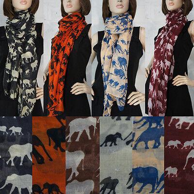 Fashion Women's Long Chiffon Elephants Safari Scarf Wraps Shawl Soft Scarves