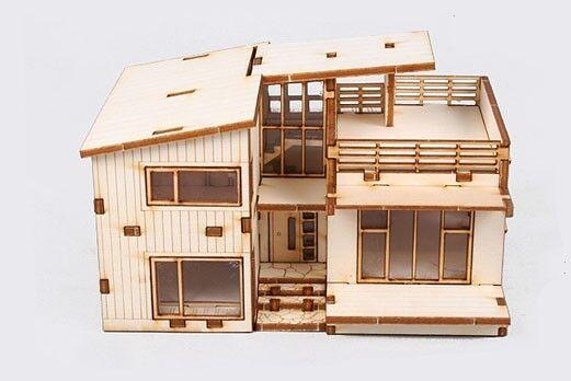 """Wooden model kit """"Modern House"""" / youngmodeler"""