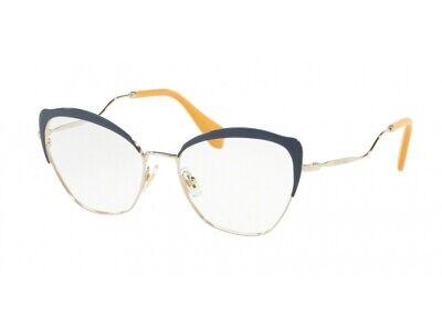Montatura Occhiali Da Vista Miu Miu Autentici Mu 54pv Blu Ue61o1 Styling Aggiornato