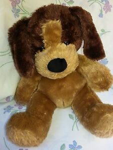 Build-a-Bear plush brown puppy dog pink tongue Sitting stuffed animal toy 12""