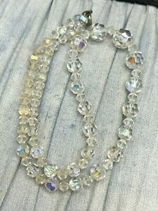 Aurora Borealis Necklace Glass Faceted Crystal Bead Vintage Costume Jewellery