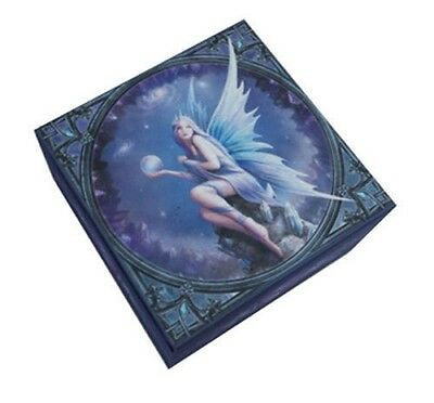 "Moonlight Sphere Bearer Fairy Mirror Box by Anne Stokes Trinket Box Decor 4""L"