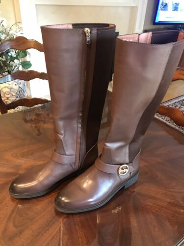 Coach Brown Leather And Fabric Riding Boot Size 8