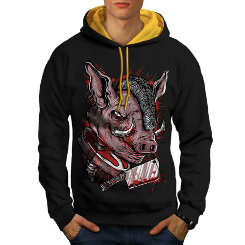 Contrast Hood New Pig gold Hoodie Cool Men Animal Black Pork Chop xwvB0OvnqX