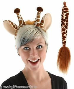 Image is loading GIRAFFE-COSTUME-KIT-SET-Ears-Tail-Headband-Adult-  sc 1 st  eBay & GIRAFFE COSTUME KIT SET Ears Tail Headband Adult Child Kids Brown ...