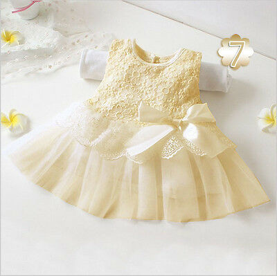 Toddler Baby Kids Girl Princess Pageant Party Tutu Lace Bow Flower Dresses 0-24M
