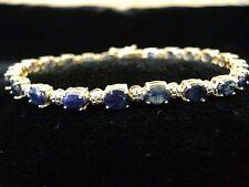 "10 K Yellow Gold Blue Sapphire Diamond Tennis Bracelet 7"" 8.8gr."