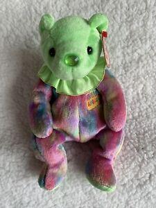 Ty Beanie Baby Happy Birthday Bear August Retired Green Multi Colored Plush
