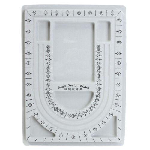 Flocked Bead Board String Beading Jewelry Design Organiser Tray DIY Craft Gray