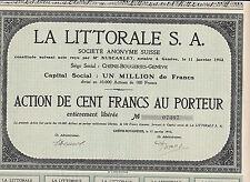 La Littorale S.A. Suisse-100 Francs-Chene-Bougeries-Geneve-1912