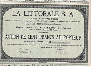 Frugal La Littorale S.a. Suisse - 100 Francs-chene-bougeries-geneve - 1912-ougeries-geneve-1912 Fr-fr Afficher Le Titre D'origine 50% De RéDuction