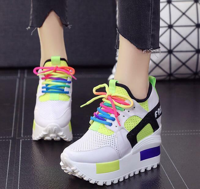 Punk Womens Mesh Mixed Color Sneakers Platform Hidden Heel Sport Creepers Shoes