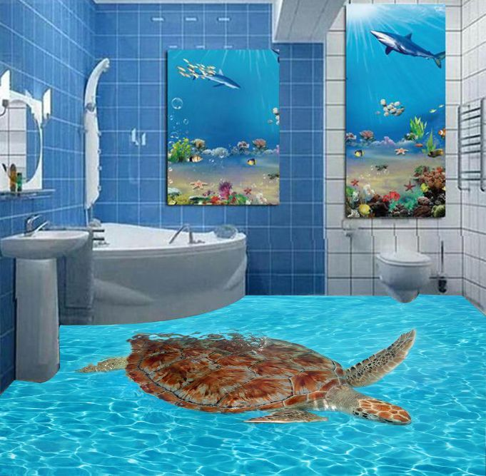 3D Shimmering Tortoise Floor WallPaper Murals Wall Print Decal 5D AJ WALLPAPER