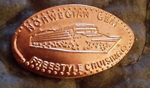 PRESSED-PENNY-NORWEGIAN-CRUISE-LINES-NCL-GEM-SHIP-DESIGN-ELONGATED-COIN
