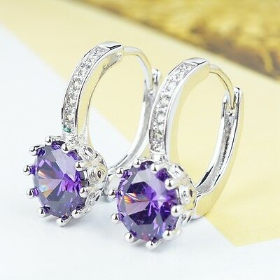 Platinum Plated Earrings With Shining Purple Round Shape Stone Women Lady A0083