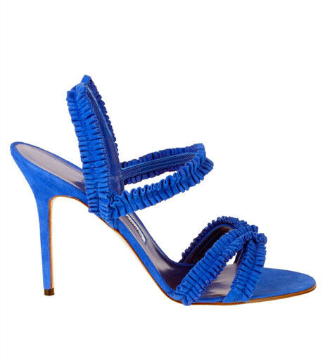 895 New Manolo Blahnik ROYAL bluee SUPLIZIA Strappy Sandals shoes 35.5 38 5 7.5