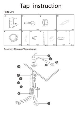 Modern Monobloc Kitchen Mixer Tap 360° Spray Chrome Hot /& Cold Sink Faucet Taps