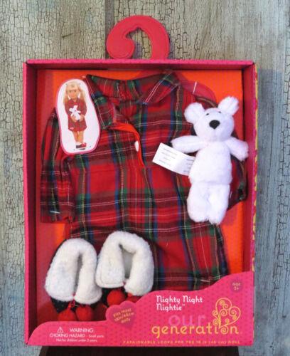"""AG Our Generation CHRISTMAS Nighty Night Nightie Plaid Pajama Set 18/"""" Girl Doll"""