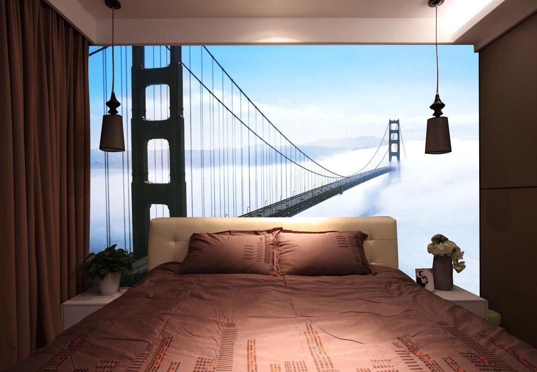 Mega 3D Dream Bridge Cloud Paper Wall Print Decal Wall Deco Indoor Wall Murals