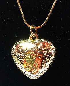 Gold-Plated-Heart-Pendant-And-Chain-With-Intricate-Engraved-Design